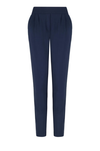 Linia basic Vito Vergelis. Granatowe dzianinowe spodnie z błyszczącą bizą.