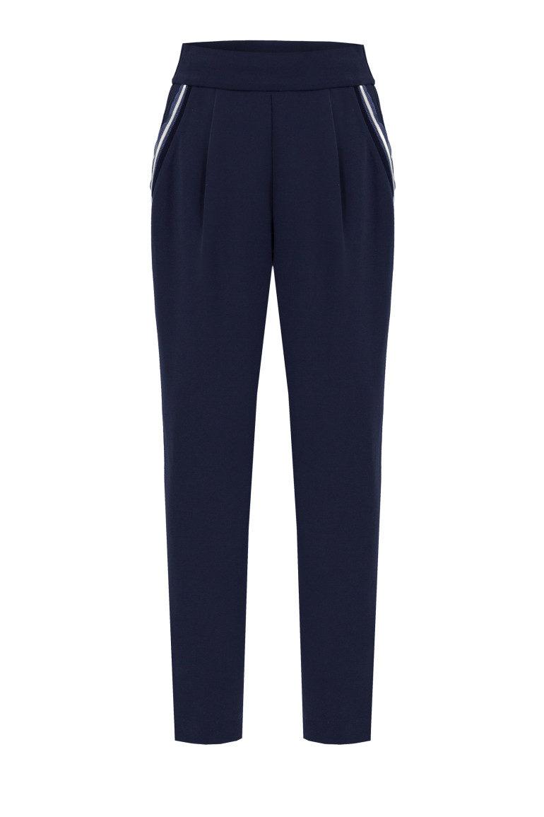 Granatowe spodnie dzianinowe