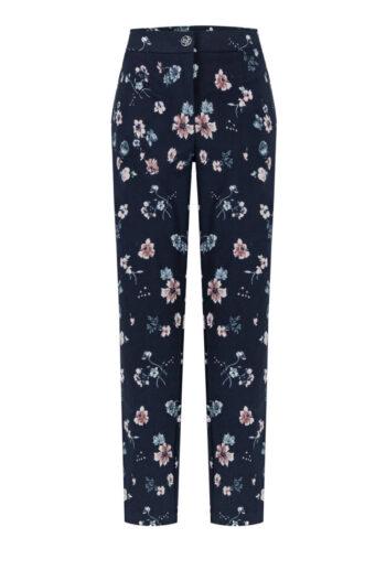 niebieskie spodnie damskie w kwiatki marki Vito Vergelis