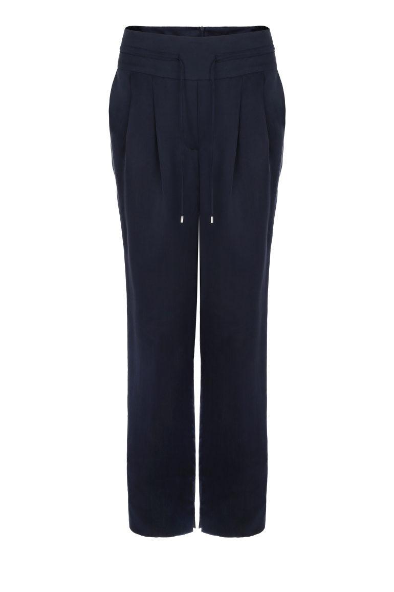 Granatowe spodnie z cupro