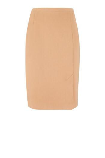 Karmelowa spódnica ołówkowa - moda damska plus size polskiej marki Vito Vergelis - beżowa spódnica wiosna 2021