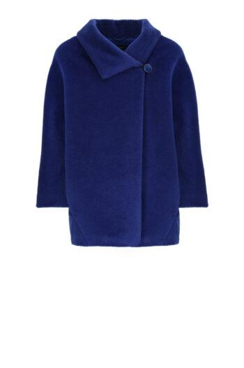 krótka kobaltowa kurtka z alpaki Vito Vergelis