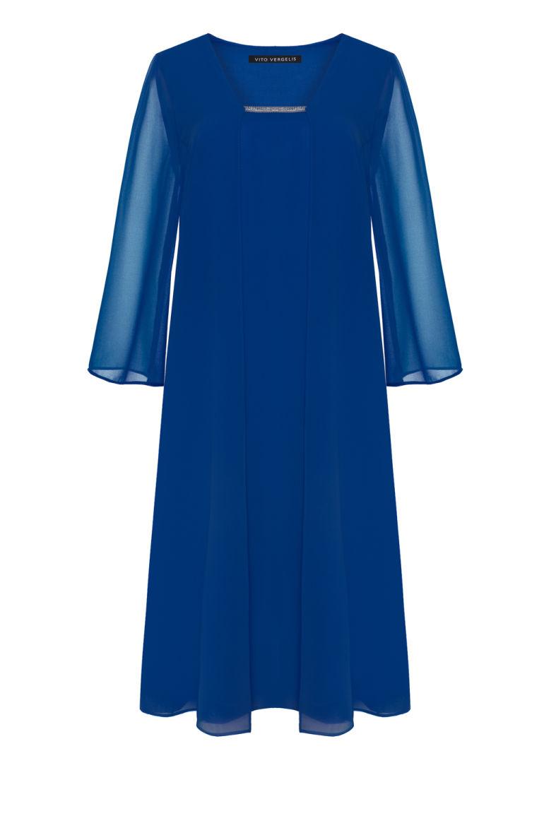 Kobaltowa sukienka z szyfonu