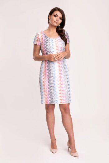 Sukienka z kolorowej, pastelowej koronki ażurowej. Wygodna i elegancka sukienka Vito Vergelis