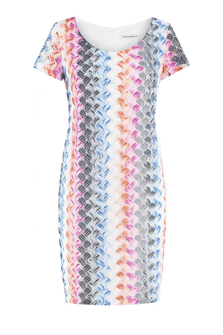 Kolorowa ażurowa sukienka