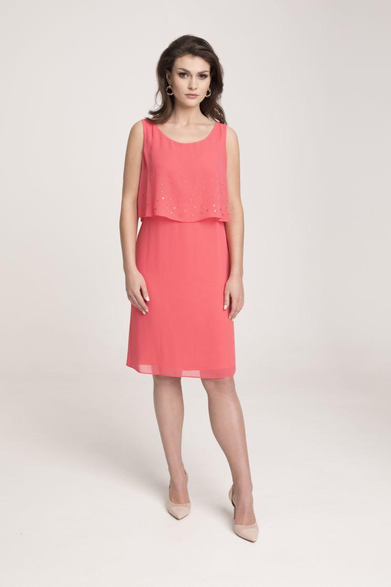 Koralowa sukienka z szyfonu na wesele
