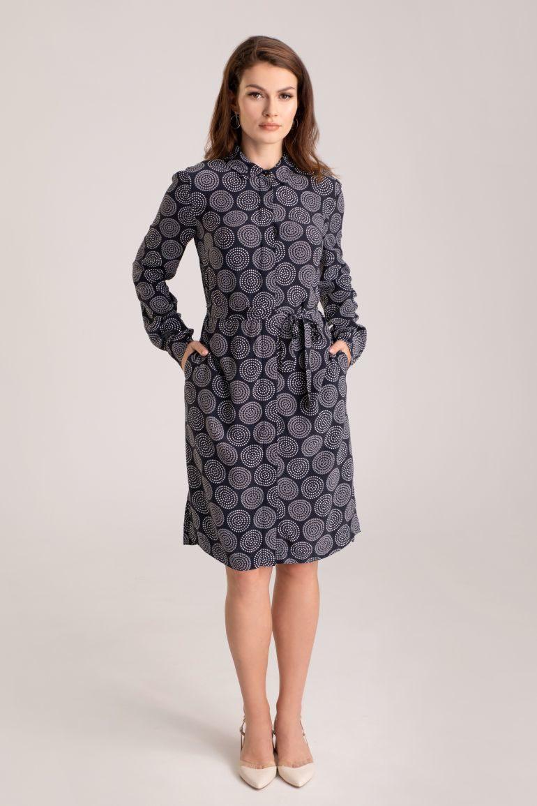 Koszulowa sukienka z cupro i wiskozy
