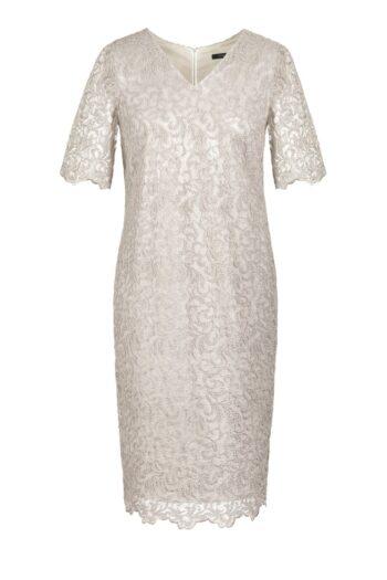 Kremowa sukienka wizytowa z gipiury marki Vito Vergelis