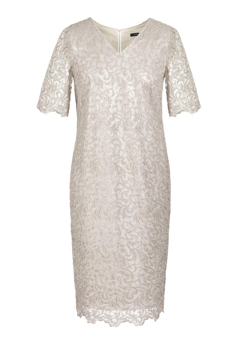 Kremowa sukienka wizytowa z gipiury