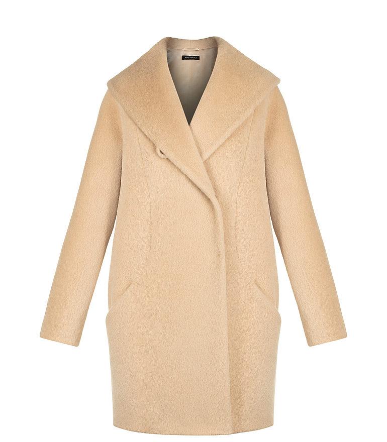 kremowy płaszcz z wełny lamy i wełny dziewiczej