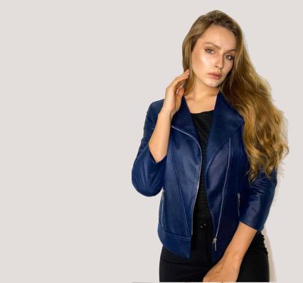 kurtki wiosenne niebieska ramoneska kurtki skórzane wiosna 2021 polska marka Vito Vergelis rozmiary plus size
