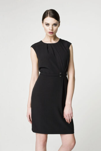 elegancka mała czarna sukienka Vito Vergelis bez rękawków, z klamrą
