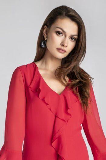 Linia wizytowa. Czerwona sukienka z falbanami z szyfonu marki Vito Vergelis