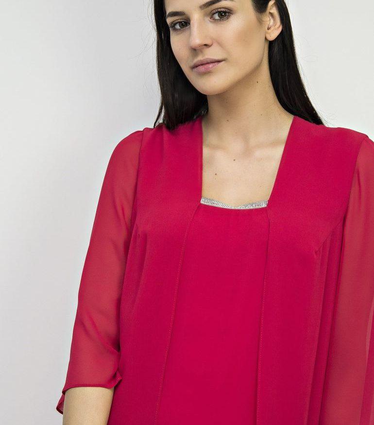 Malinowa sukienka z szyfonu