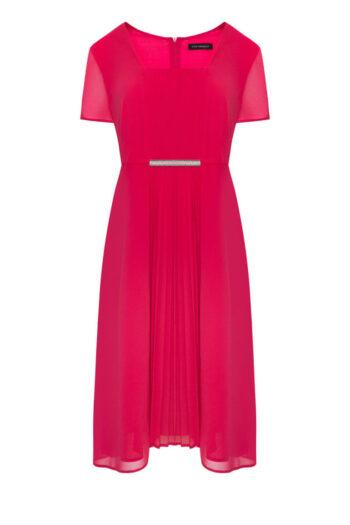 Kolekcja wizytowa. szyfonowa sukienka malinowa z plisowaniem marki Vito Vergelis