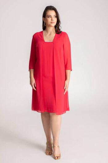 Linia wizytowa marki Vito Vergelis. Szyfonowa czerwona sukienka na wesele duże rozmiary