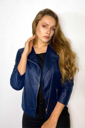 Niebieska kurtka ramoneska damska polskiej marki Vito Vergelis kurtka damska ze sztucznej skóry