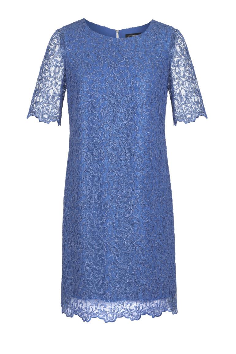 Wizytowa sukienka z gipiury niebieska