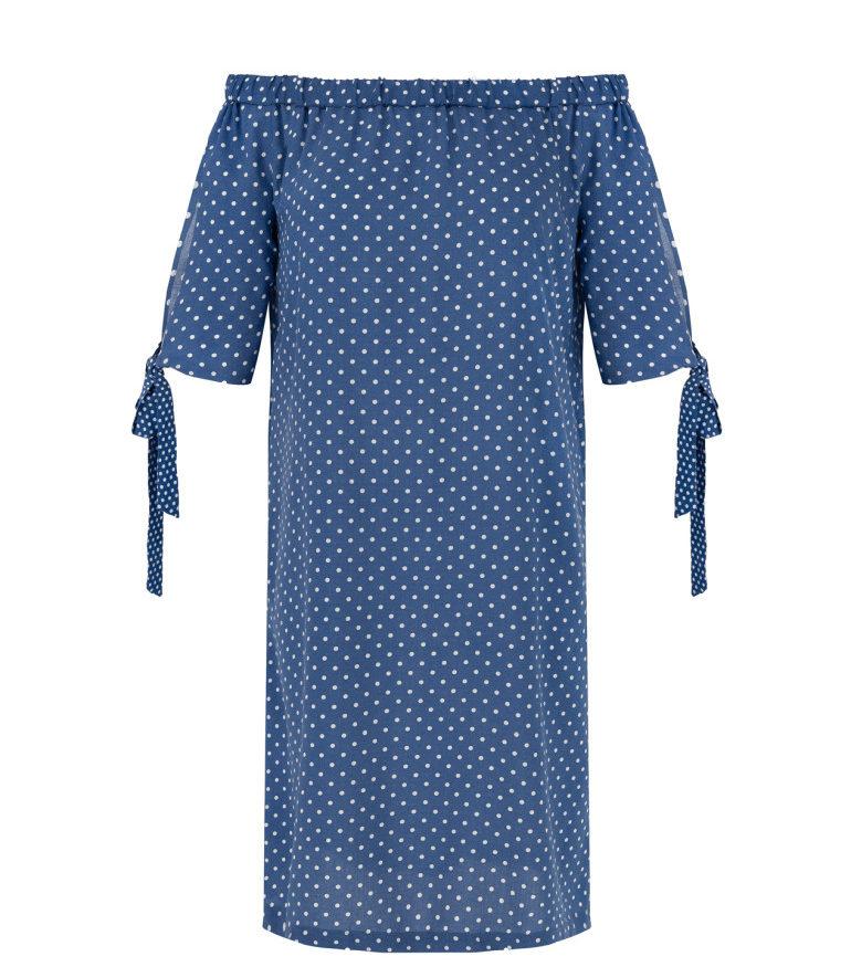 Niebieska sukienka hiszpanka w groszki
