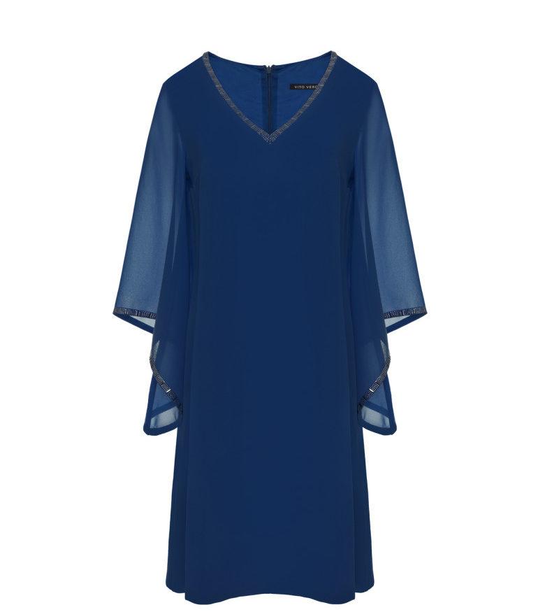 Niebieska sukienka szyfonowa z aplikacją
