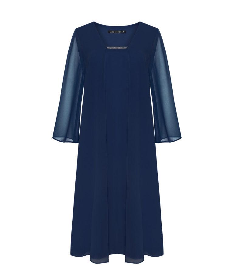 Ciemnoniebieska sukienka z szyfonu