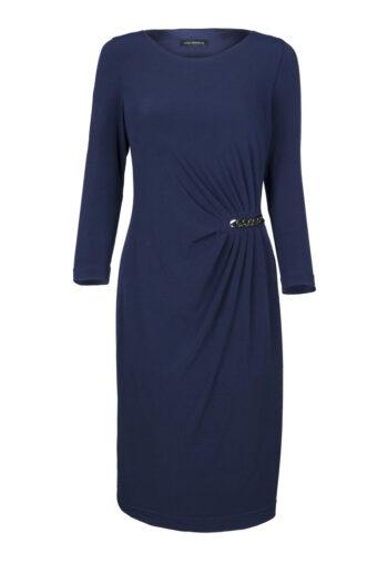 niebieska sukienka dzianinowa z marszczeniem. Sukienka wizytowa marki Vito Vergelis. sukienka z drapowaniem