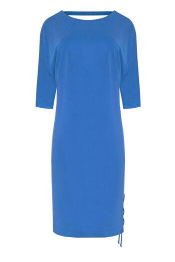 Niebieska sukienka z modalu z wiązaniem i wycięciem na plecach marki Vito Vergelis