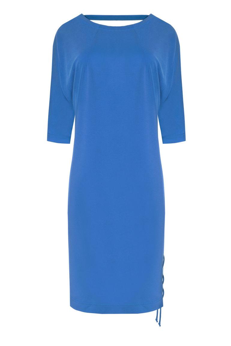 Luźna niebieska sukienka z wiskozy