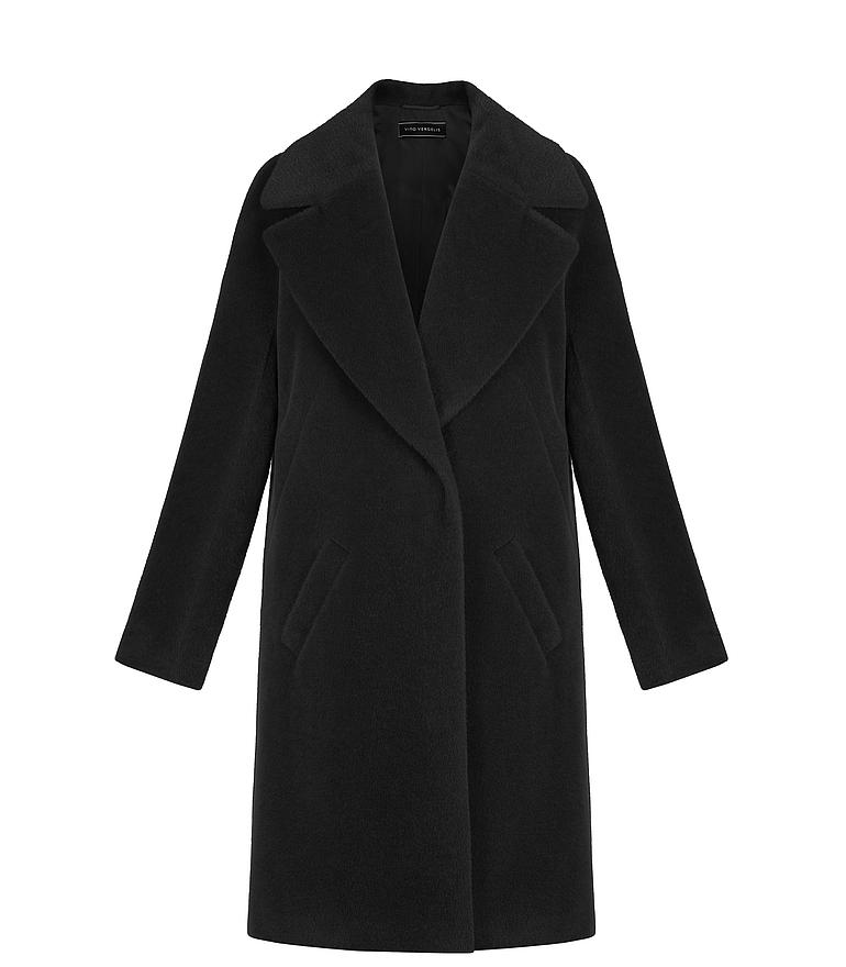 czarny płaszcz z suri alpaki i wełny dziewiczej