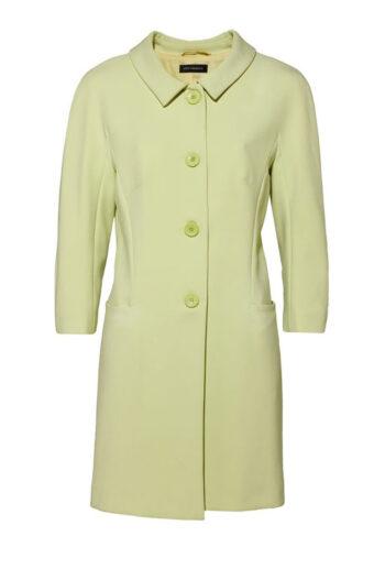zielony płaszcz wiosenny z kołnierzykiem, zapinany na guziki marki Vito Vergelis