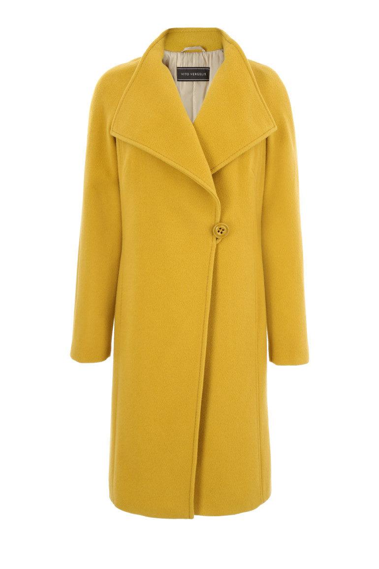Miodowy wełniany płaszcz