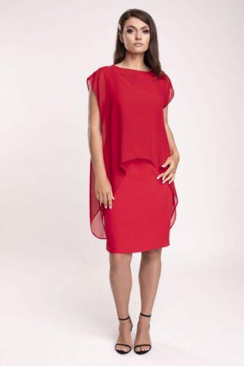 Kolekcja wizytowa. Elegancka, czerwona sukienka ołówkowa z narzutką z szyfonu polskiej marki Vito Vergelis