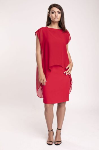 Kolekcja wizytowa. Elegancka, czerwona sukienka ołówkowa z szyfonową narzutką polskiej marki Vito Vergelis