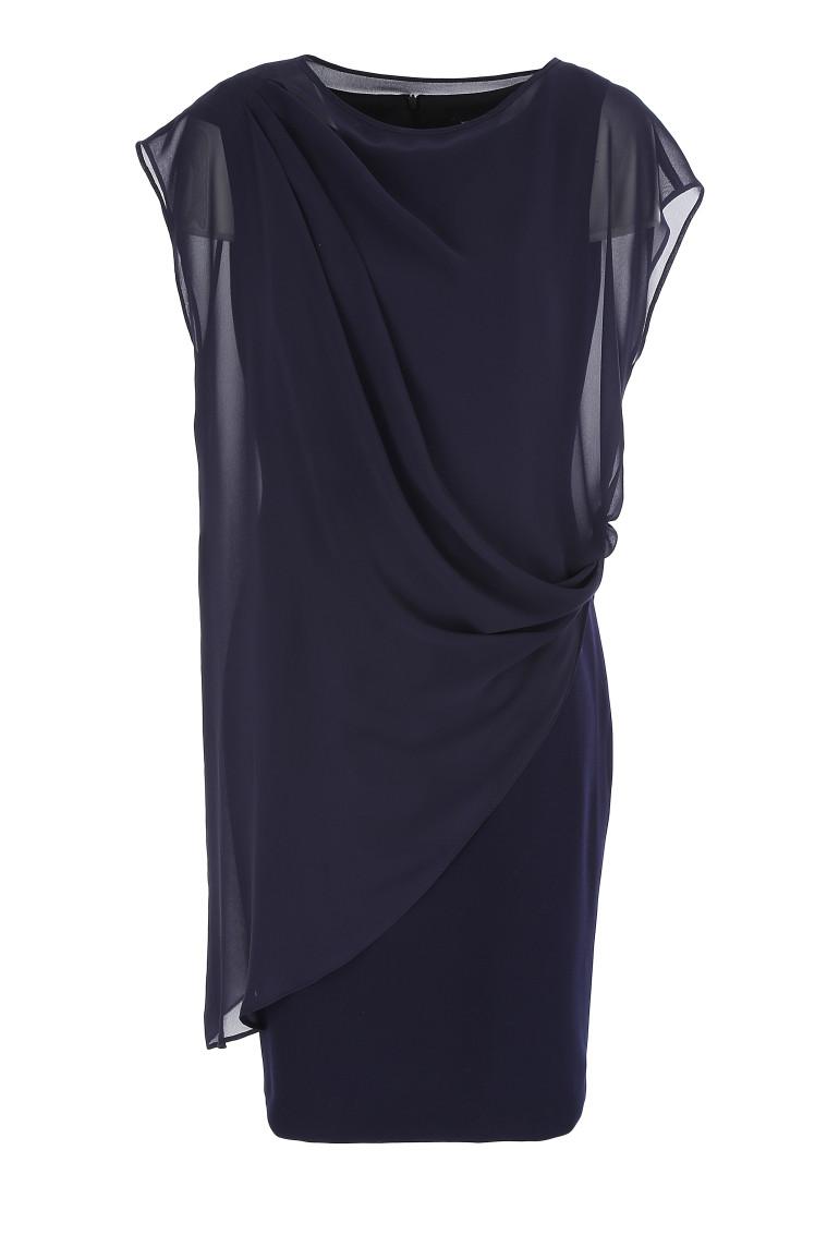 Granatowa sukienka z narzutką z szyfonu