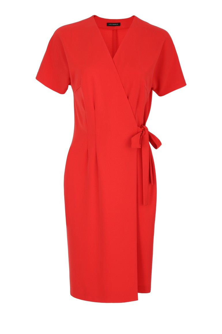 Pomarańczowa kopertowa sukienka