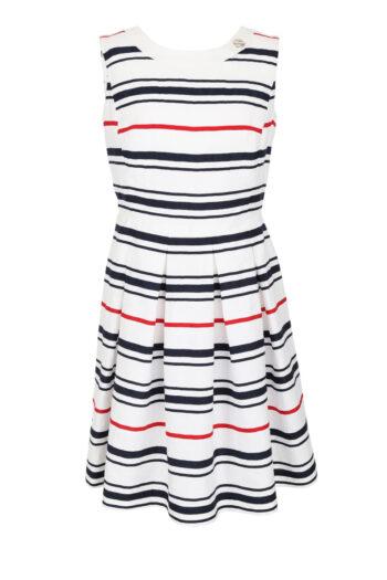 rozkloszowana sukienka w marynarskie paski z lnu Vito Vergelis 7040s