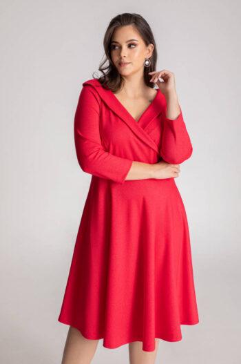 czerowna sukienka wizytowa rozkloszowana z kopertową górą marki Vito Vergelis