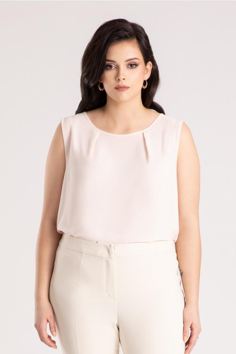 Różowa bluzka bez rękawków – pudrowy róż