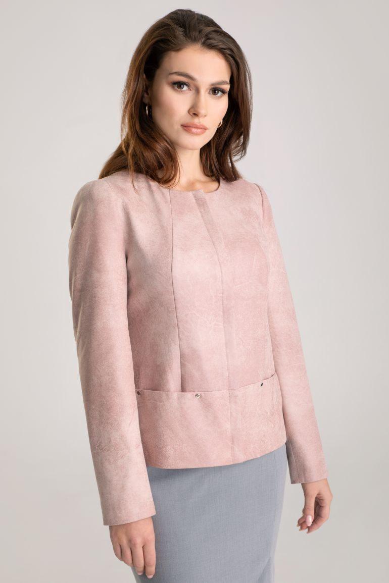 Różowa kurtka z ekoskóry