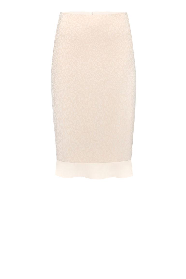 Wizytowa spódnica z falbanką – pudrowy róż