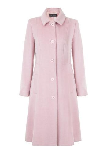 Różowy płaszcz wełniany o rozkloszowanym fasonie marki Vito Vergelis