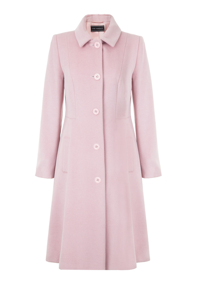 Różowy płaszcz wełniany o rozkloszowanym fasonie