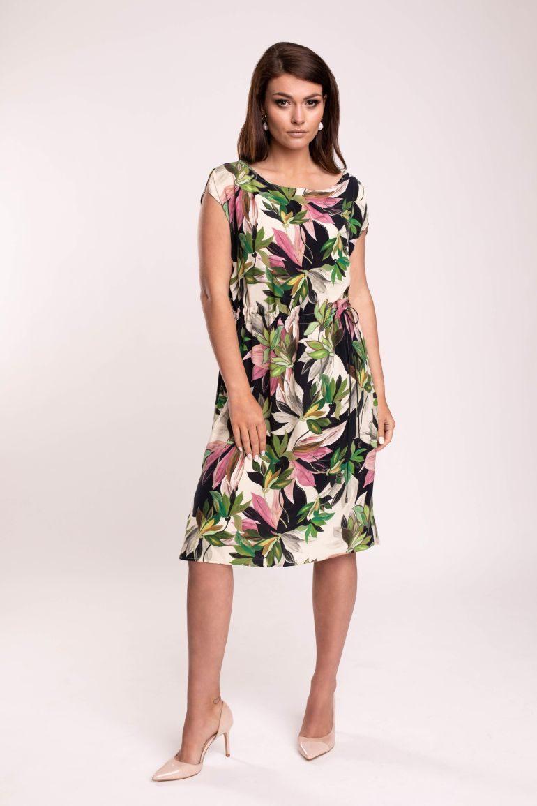 Ściągana sukienka w kwiaty z cupro