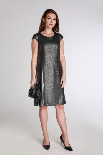 Linia wizytowa. Srebrna sukienka rozkloszowana bez rękawów polskiej marki Vito Vergelis