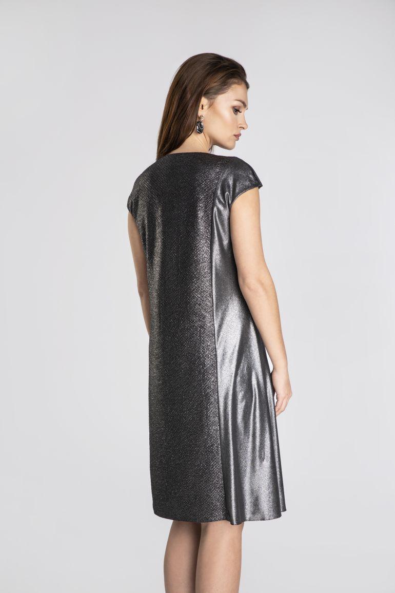 Srebrna sukienka wizytowa