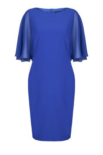 Linia wizytowa. Kobaltowa sukienka z szyfonowymi rękawami Vito Vergelis
