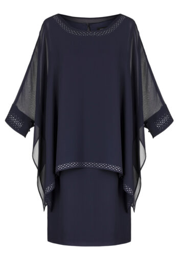 Linia wizytowa. Granatowa sukienka z szyfonu marki Vito Vergelis.