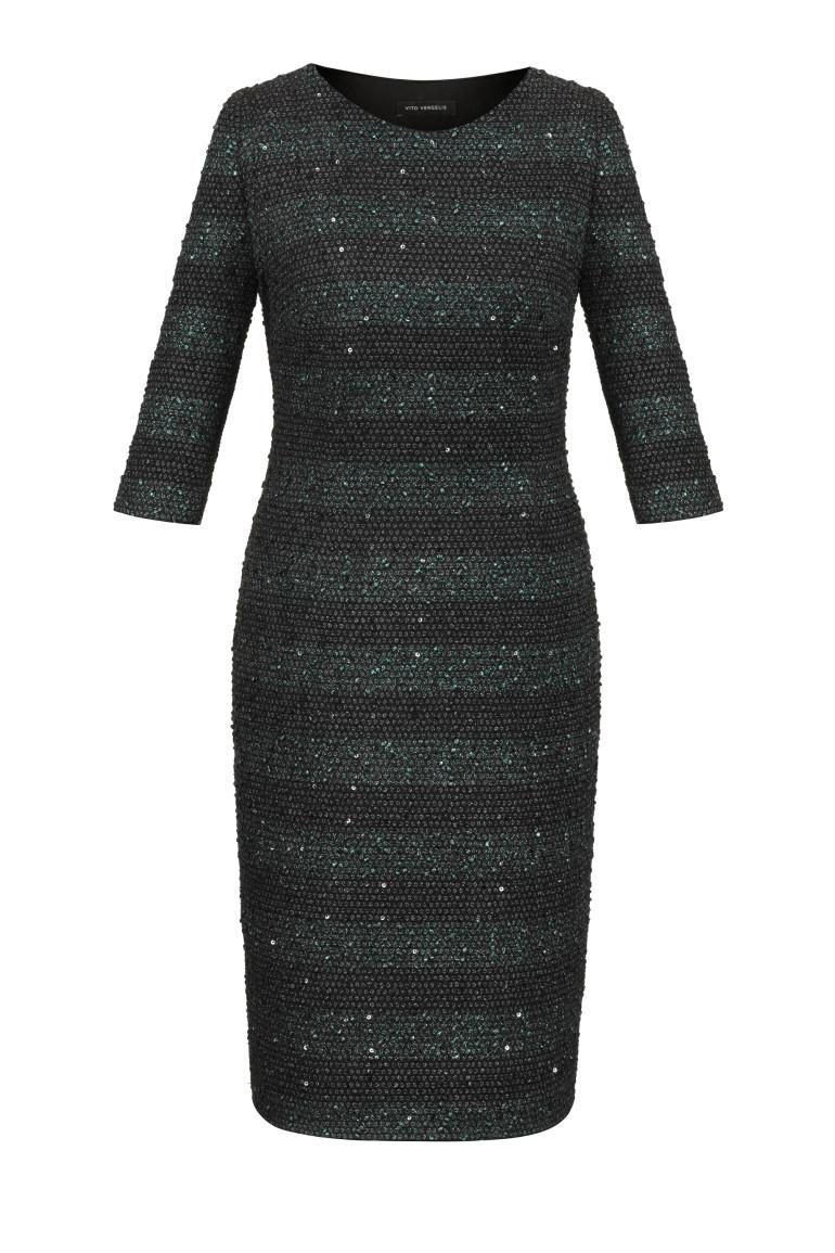 Wizytowa sukienka w zielone pasy