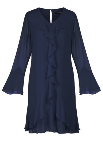 Linia wizytowa. Granatowa szyfonowa sukienka z falbanami Vito Vergelis