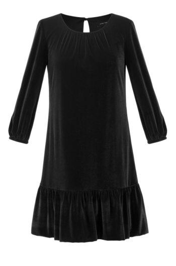 czarna welurowa sukienka Vito Vergelis z falbaną i długim rękawem
